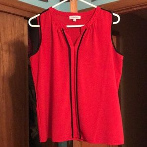 Red and black sleeveless Calvin Klein top.